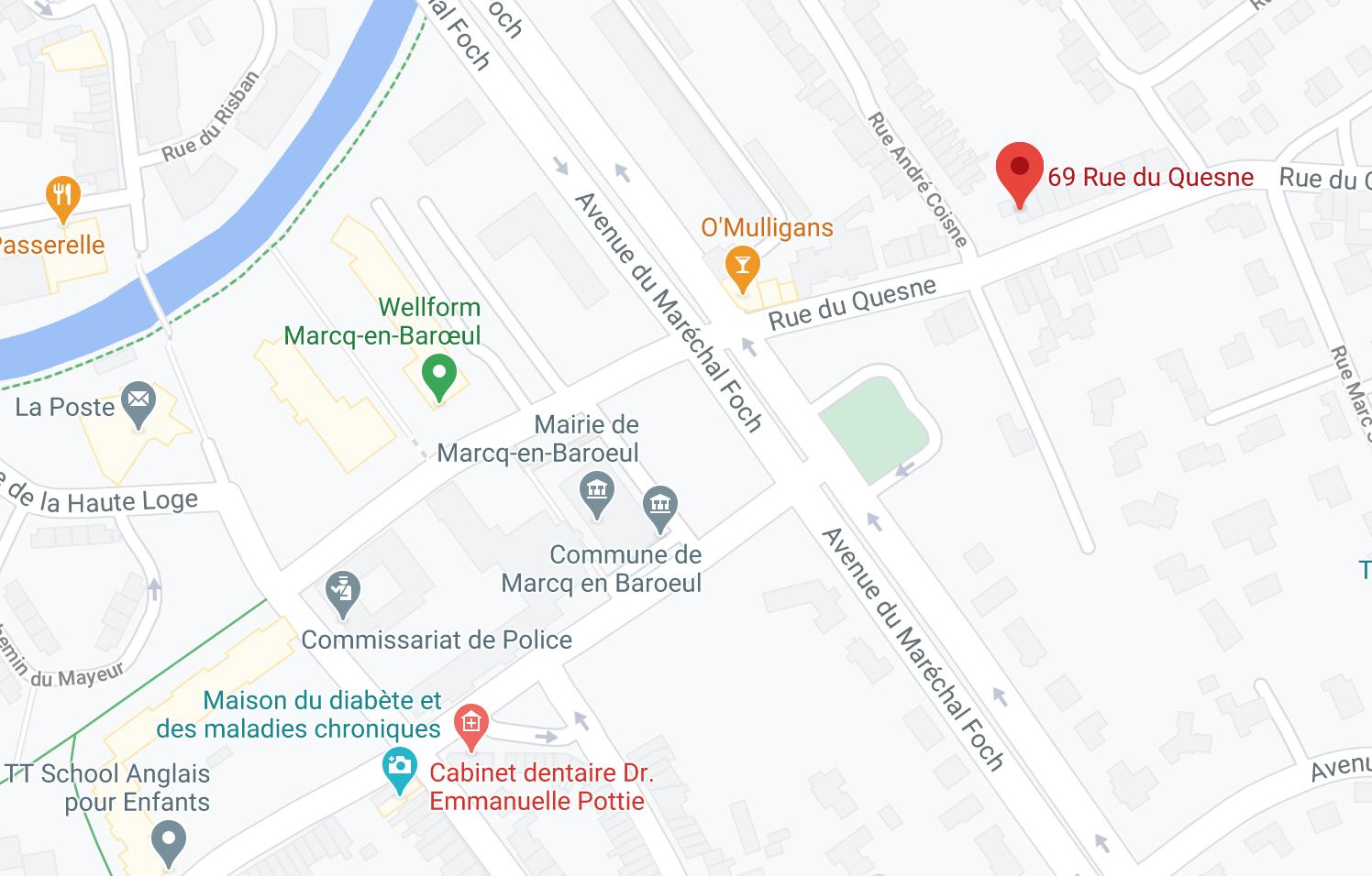 Localisation cabinet naturopathe Amandine Robitaille Marcq-en-Baroeul